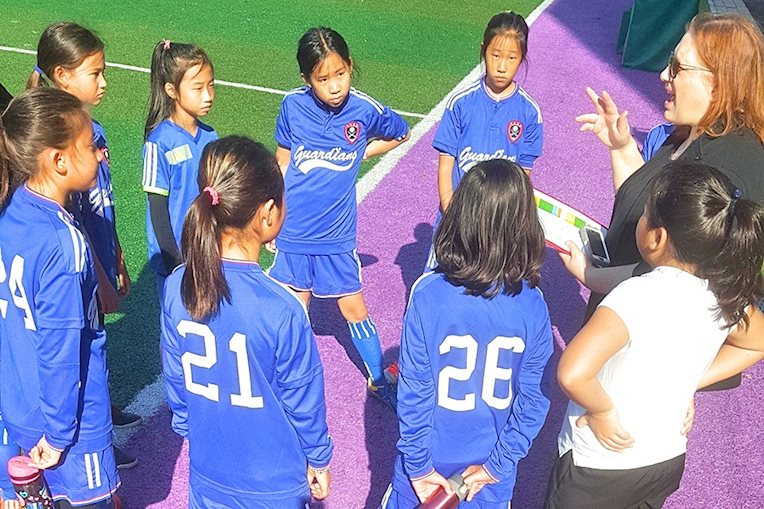 4th & 5th Grade Girls' Soccer Huddle