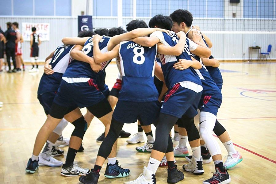 Varsity Boys Volleyball Huddle
