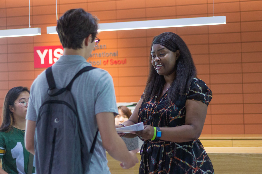 Ms. Domenique Roberts meets a new student.