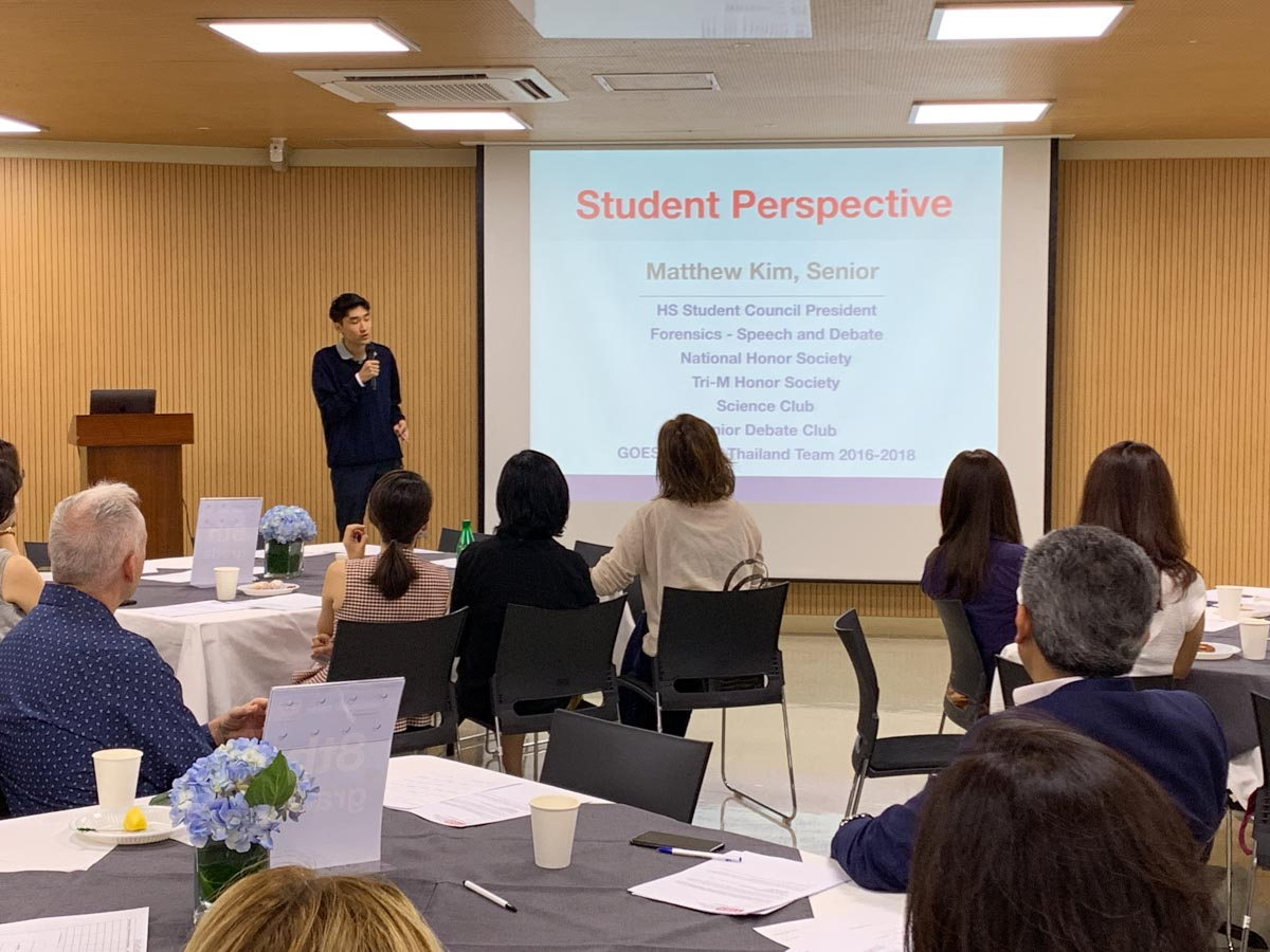 Matthew, YISS senior, spoke to parents about his perspective of YISS.